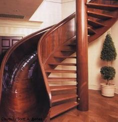 Spiral staircase with slide.