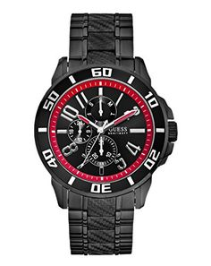 Guess W18550G1 Racer Mens Watch  Black Dial *** Click image to review more details.