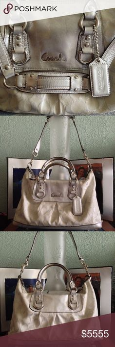 "Coach Silver Champagne Dreams Gorgeous Silver Champagne Coach Hand Bag. Two hand straps and a longer detachable shoulder strap. Zippered top opening with Coach keychain intact. Measures 12""L x 4 1/4""W x 7""H. Serial number label intact & has two interior pockets- one is zippered for more security. No stains. One wear mark just above Coach medallion.  Used gently and well maintained. Coach Bags Shoulder Bags"