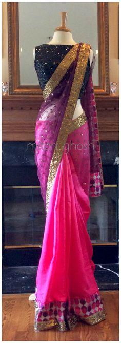 Beautiful ombré effect on this sari! Lehenga, Anarkali, Sabyasachi, India Fashion, Ethnic Fashion, Asian Fashion, Indian Attire, Indian Wear, Indian Style