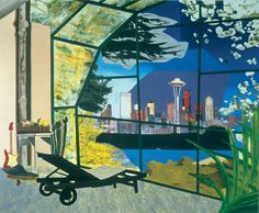 """Dexter Dalwood, """"Kurt Cobain's Greenhouse"""", oil on canvas, 2000. This painting is both day and night, like Magritte's """"Empire of Light""""; a lot of time has been spent contemplating in this room. Bright-lights big-city success blares in the distance, the boughs in bloom offer unattainable promise on the other side of the glass. While inside there's only a corroded pipe and pathetic box of posies to signify trampled self-esteem. Dexter Dalwood's painting is an allegory of the fallacy of…"""