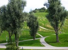 Olympic Park with articifial hills in Munich