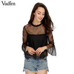 Women sexy flower embroidery ruffles mesh shirts with lining see through pleated blouse transparent casual tops blusas LT1798-in Blouses & Shirts from Women's Clothing & Accessories on Aliexpress.com | Alibaba Group