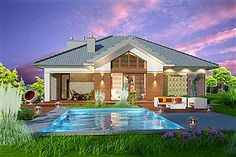 Projekt Domidea 2 d ps 119,87 m2 - koszt budowy - EXTRADOM Dream House Plans, Bungalow, Mansions, House Styles, Outdoor Decor, Ps, Home Decor, Mansion Houses, Homemade Home Decor
