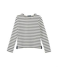 Women's breton striped sweater in heavy jersey Coquille beige / Abysse blue - Petit Bateau