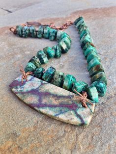Fault Lines Necklace  Chrysocolla in Copper  African by YaYJewelry