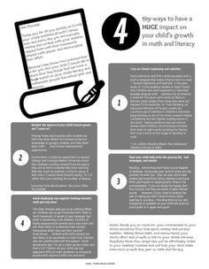4 Tiny Ways to Have a HUGE Impact on Your Child's Growth in Math and Literacy - FREE - A great handout for parents PreK-3