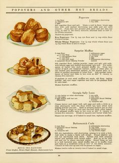 Free vintage printable hot bread recipes old cookbook page
