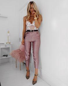 Lace bodysuit n pink pants ❤️