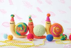 Party Snail Amigurumi Crochet Pattern