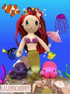 Muñeca Ariel, La Sirenita- Patrón Gratis en Español - Click aquí: http://www.galamigurumis.com/patron-de-ariel-la-sirenita/  ( Se tiene que trabajar el patrón en el mismo blog ya que no se puede copiar ni imprimir)