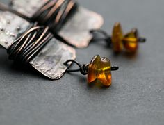 Boho earrings Boho jewelry Amber jewelry от RusticCopperStudio