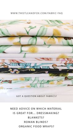 A guide for which fabrics to use for dressmaking, baby blankets, organic food wraps, home decor projects and other DIY sewing and craft projects. Sewing Projects, Craft Projects, Custom Printed Fabric, Fabric Textures, Surface Pattern Design, Baby Blankets, Organic Recipes, Dressmaking, Fabric Design