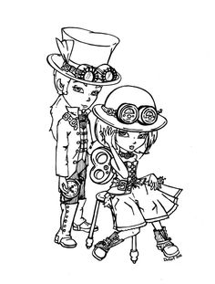 Commissioned lineart for Steampunk fashion is SOooo cool! Steampunk Images, Coloring Book Pages, Coloring Sheets, Coloring Stuff, Outline Drawings, Digi Stamps, Copics, Colorful Pictures, Little Girls