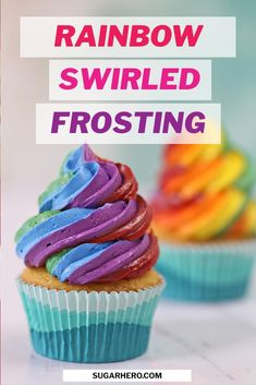 Love rainbow desserts? Try making swirled rainbow frosting! This decorating trick is GORGEOUS, and super easy. You can make these bright buttercream swirls with your favorite frosting recipe in under 5 minutes! | From SugarHero.com #sugarhero #rainbowfrosting #rainbowswirls #rainbowbuttercream #rainbowdesserts