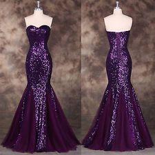 Sequins + Mermaid VTG Long Prom Dresses Bridesmaid Wedding Gowns Formal Evening