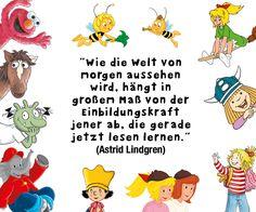 Lesen ist etwas wunderbares. Wunderschönes Zitat zu Bücher von Astrid Lindgren.
