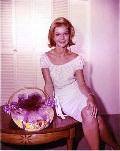 Carol Lynley with an Easter basket