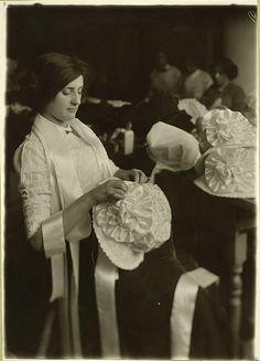Worker in the Halpren Hat Factory  6 Broadway, New York City, 1907.     Photographer: Lewis Wickes Hine.