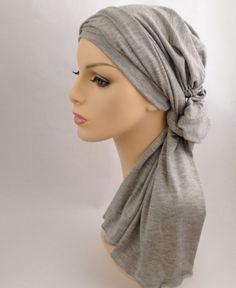Light Gray Heather Turban Head Wrap Alopecia Head Scarf Chemo Hat, Hat & Scarf Set