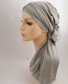 Light Gray Heather Turban Head Wrap Alopecia Head Scarf Chemo Hat