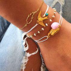 Gold leaf bracelet gold 24k Rosario White by ChristinaChristiJls