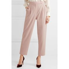 Max Mara Sartorial wool-blend tapered pants (22.745 RUB) via Polyvore featuring pants, tailored trousers, pink pants, pastel pink pants, tapered trousers и tapered pants