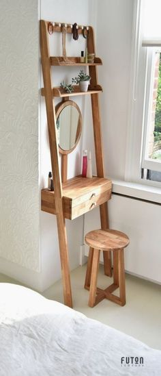 Amazing & Magical and Simple DIY Home Deco . Amazing & Magical and Simple DIY Home Decor Ideas for Bedroom … Dressing Table Design, Small Dressing Table, Dressing Rooms, Dressing Table Vanity, Dressing Table Organisation, Dressing Table Storage, Bedroom Dressing Table, Bedroom Table, Dressing Table Inspo