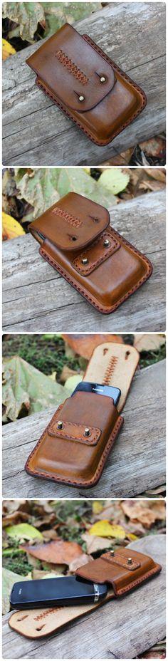handmade leather phone holder case
