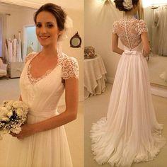 2015 Cheap Cap Sleeve Wedding Dress,Custom Made White/Ivory Wedding Gowns,Beach Bridal Dress,A-line Wedding Gowns