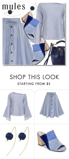"""""""Mules blue"""" by fshionme ❤ liked on Polyvore featuring Hush Puppies, Chloé and mules"""