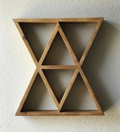 Hourglass Geometric Wood Shelf Crystal Display