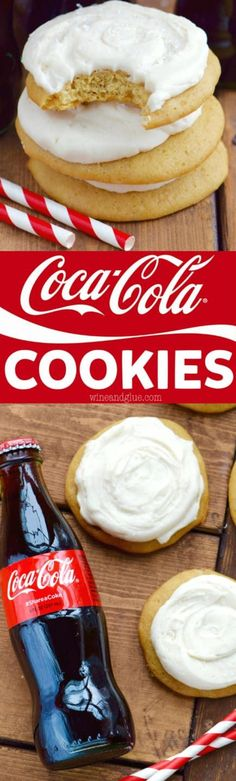 These Coca-Cola Cookies are perfectly soft with the most delicious Coca-Cola Frosting! For frosting use 8 TBSPs butter, room temperature, cup Coca-Cola at room temperature, 4 cups powdered sugar of the ingredients. Cookie Desserts, Easy Desserts, Cookie Recipes, Delicious Desserts, Dessert Recipes, Yummy Food, Coca Cola, Cupcakes, Cupcake Cakes