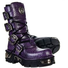 New Rock Boots Style M.391-S12 Spider Web Boot (Lilac) ($275) ❤ liked on Polyvore