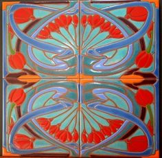 Custom Made Art Nouveau Repetitive Pattern Tile Mural