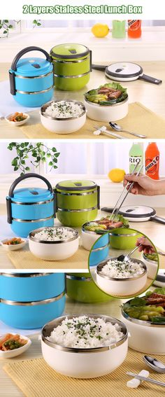 2 Layers 3 Styles Stainless Steel Lunch Box Portable Thermal Insulation Dinnerware Sets - Newchic