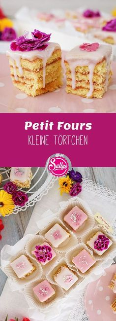 Petit fours / small tartlets / Mother& Day tartlets - Rezepte von Sally - Mini Wedding Cakes, Creative Wedding Cakes, Mini Cakes, Banana Recipes, Lemon Recipes, Cake Recipes, Mini Desserts, Cupcakes, Sully Cake