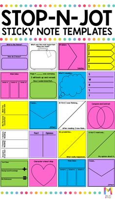 Reading Response Sticky Note Template I absolutely love how these sticky note templates help my grade students jot down their thoughts while indepndently reading. They cover a variety of skills like comparing and contrasting, making inferences, and cau Reading Workshop, Reading Skills, Teaching Reading, Reading Logs, Reading Intervention Classroom, Ar Reading, Reading Response Activities, Teaching Literature, Guided Reading Groups