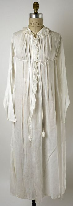 Linen Dressing Gown, French, Date: ca. 1802 Culture: French Medium: linen Dimensions: Length at CB: 52 in. cm) Credit Line: Purchase, Irene Lewisohn Bequest, 1988 Accession Number: 1800s Fashion, 19th Century Fashion, Vintage Fashion, Antique Clothing, Historical Clothing, Historical Costume, Jane Austen, Vintage Dresses, Vintage Outfits