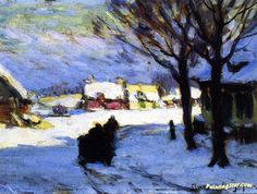 Afternoon Sun, Baie-saint-paul Artwork By Clarence Gagnon Oil Painting & Art Prints On Canvas For Sale Canadian Painters, Canadian Artists, Clarence Gagnon, Of Montreal, Art Prints For Sale, Winter Art, Sculpture, Artist Art, Canvas Art Prints