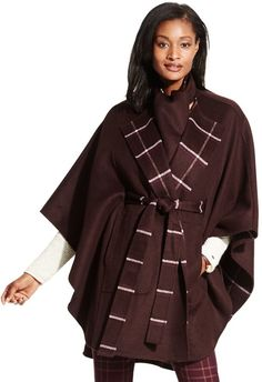 this Tommy Hilfiger WOOL CASHMERE REVERSIBLE CAPE is EVERYTHING!