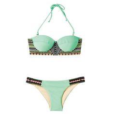 Bohemian Style Swimwear Swimsuit Bikini Women Microgroove green S