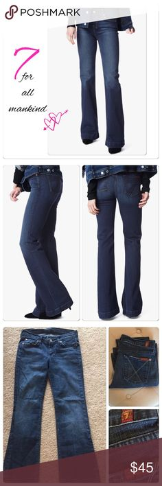 """👖 7 For all Mankind Dojo Jeans 7 jeans- the """"Dojo"""" wide leg in Santiago Canyon a wonderful Denim//amazing stretch. The rich and sophisticated wash has authentic whiskers and chevrons, subtle hand sanding that makes the lovely rich blue color POP. //5 pocket style//98% cotton 2% spandex//M/W tumble dry//front rise 9.5//back rise 13.5//21""""leg opening//29"""" inseam//size 26/2. Still priced over 159 everywhere. I great pre-loved condition- only worn a few times, only flaw is slight wear on back…"""
