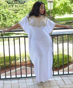 Gold Beading Plus Size Mermaid Evening Dress Bat Sleeves 2016 Scoop Long White African Prom Dresses Gown Kaftan Robe De Soiree