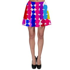 Colorful squares Skater Skirt