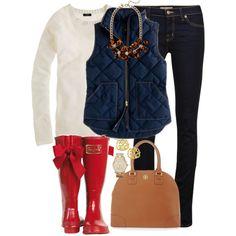 d775074e5335 neutral colored sweater + J.Crew vest + statement necklace + skinny jeans +  rain