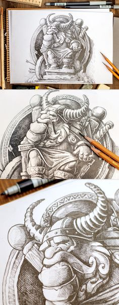 Hi) today, we are starting new sketches of warrior. Soon, we will show the final version in color :)