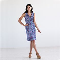 Mata Traders - The flexibility of spandex gives this dress an easy comfort without sacrificing style! It's made of organic cotton jersey that wears like your favorite t-shirt, but the navy floral print real…