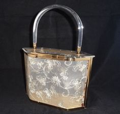 Elegant Vintage Clear Lucite and Lace Purse by Majestic