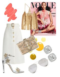 """Golden girl"" by fashionvoir on Polyvore featuring Frederic Sage, Bella Freud, Chiara Ferragni, TIBI, Forever Unique, Obsessive Compulsive Cosmetics and Sunny Rebel"